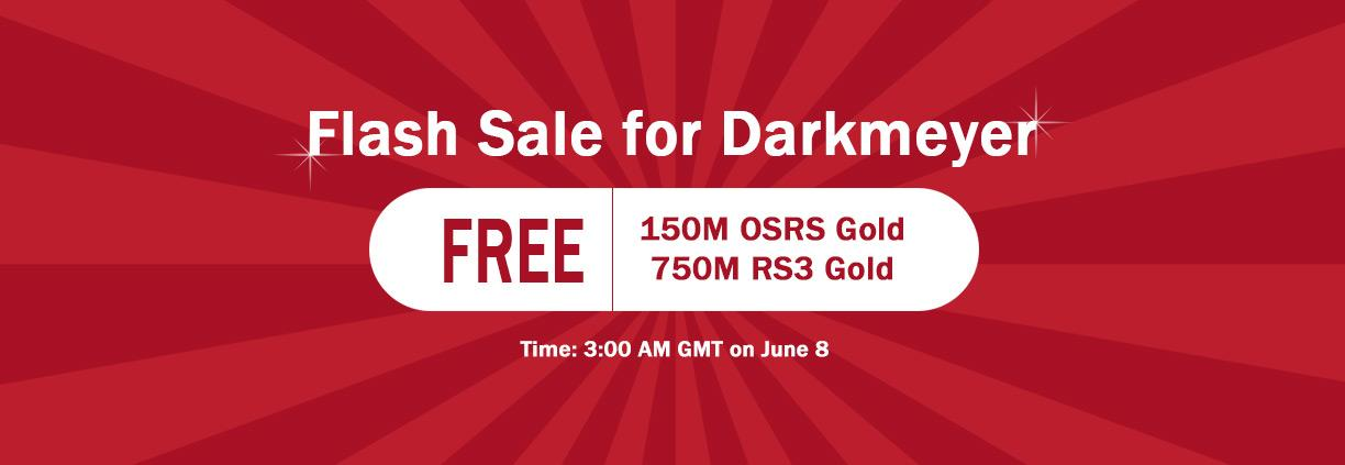 Flash Sale for Darkmeyer: 150M Free RS07 Gold Provided on RSorder June 8